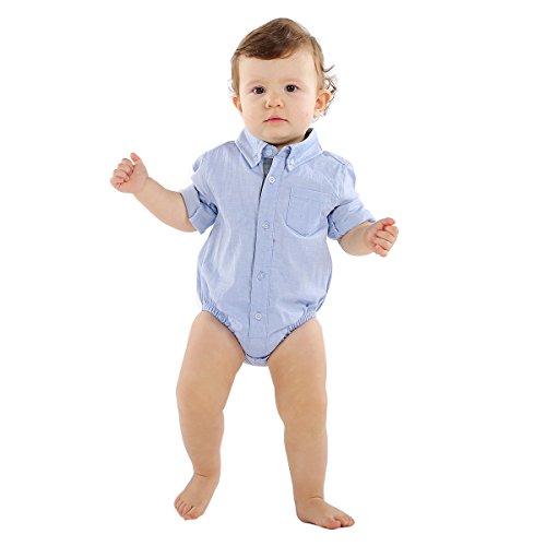 Bebone Baby Boys Girls Casual Triangle Cotton Shirt (Blue, 0-3M) (Baby Oxford Bodysuit)