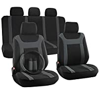 Motorup America 17PC Auto Seat Cover Set - Fits Select Vehicles Car Truck Van SUV - Gray & Black