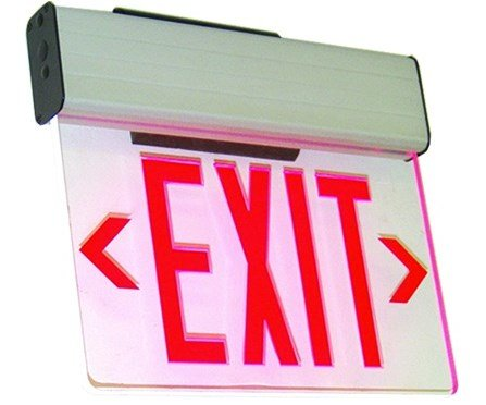 Ciata Lighting Single Face Edge Lit Emergency Exit Sign With Battery Backup - Clear Panel (Red) ()