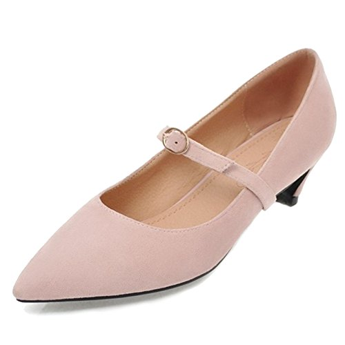 SJJH Court Shoes with Kitten Heel and Pointed Toe Fashion Nubuck Materail Marry Jane Shoes Pink