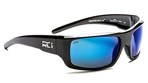 RCI OPTICS Monster Hole 2.0 H780 IR 100 Percent Polarized Infrared blocking sunglasses (Midnight Gunmetal, Grey Atlantic Blue Mirror H780 IR) (Rci)