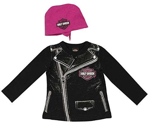 Harley-Davidson Girls Baby Biker Babe Tee & Do Rag Starter Set (18M) Black/Pink -