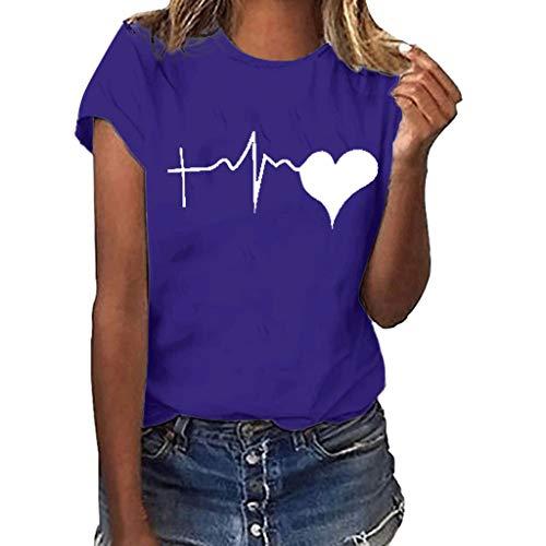 VEZAD Short Sleeve T Shirt Women Girls Plus Size Print Blouse Heat Print Tops