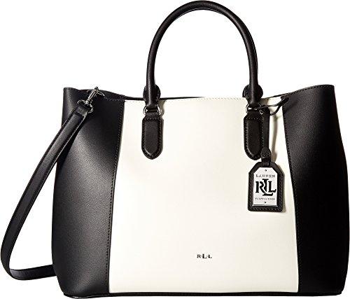 LAUREN Ralph Lauren Women's Dryden Marcy Tote Medium Black/Vanilla (Black Dog Designer Handbag)