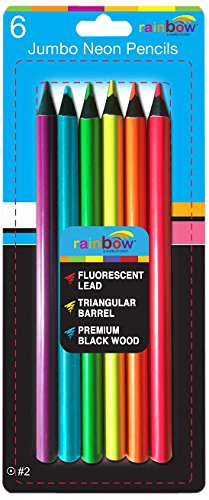 Promarx Rainbow Jumbo Size Fluorescent Colored Pencils, B...
