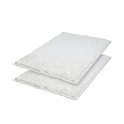 VDOMUS Absorbent Microfiber Bath Mat Soft Shaggy Bathroom Mats Shower Rugs - 2 Pieces (White) (Shag Bathroom Rug White)