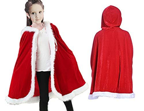 Patiky Christmas Cloak for Kids Santa Claus Velvet Hooded Cape Costume for Children Red -