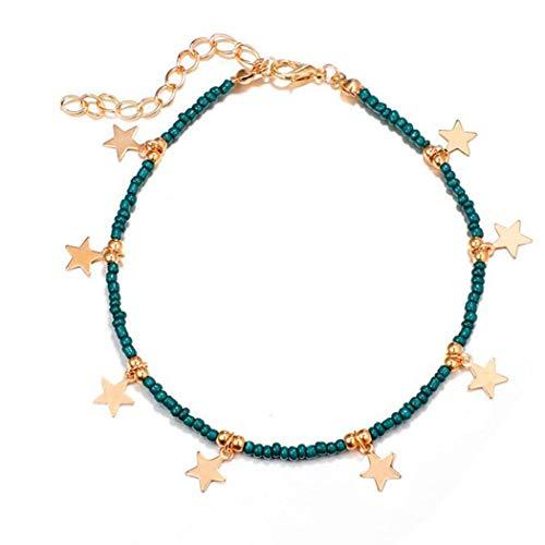 Eternal-Z Turquoise Star Tassels Anklet Bracelet Fashion Beach Foot Chain Barefoot Sandal Adjustable for Women and Girls