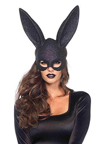Leg Avenue Women's Rabbit Mask, Black Glitter,
