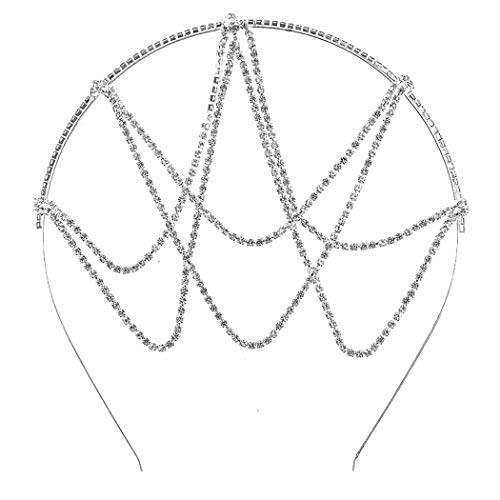 Rosemarie Collections Women's Unique Drape Design Crystal Rhinestone Head Chain Headband