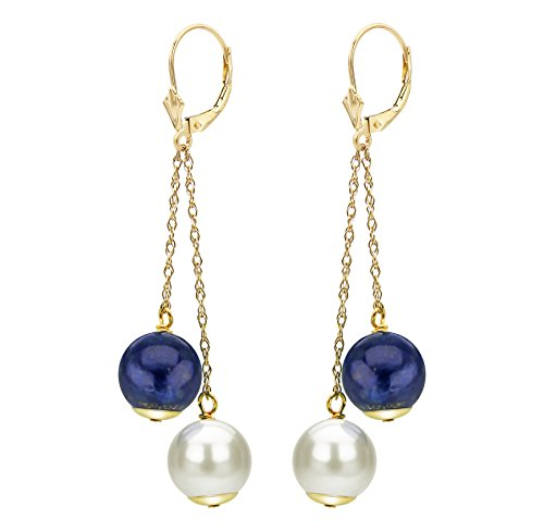 (White Cultured Freshwater Pearl Leverback Earrings Simulated Lapis-lazuli 14K Jewelry for Women)