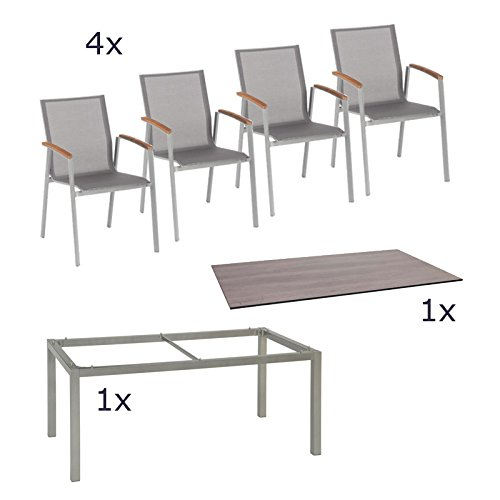 stern gartenm bel set top 6 teilig stapelsessel und tischgestell aus aluminium mit silverstar. Black Bedroom Furniture Sets. Home Design Ideas