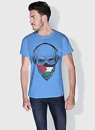 Creo Palestine Skull T-Shirts For Men - L, Blue