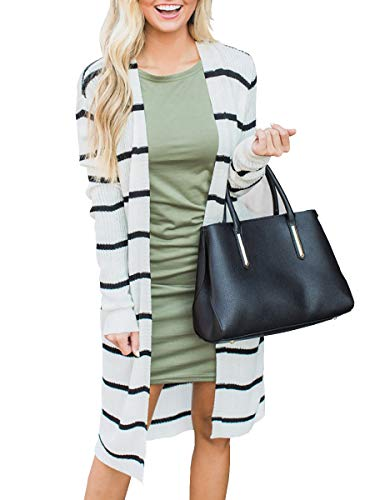 Lightweight Striped Sweater - Lovaru Womens Long Cardigans Striped Fall Oversized Lightweight Open Front Sweater Tops White