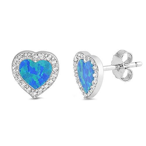 Lab Created Blue Opal & Cubic Zirconia Heart Stud .925 Sterling Silver Earrings - Earrings Heart Opal Blue