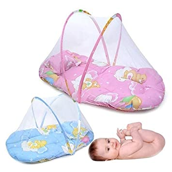 Pink Foldable Portable Infant Baby Travel Mosquito Net Crib Bed Tent with Pillow for Home Use