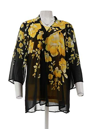 Susan Graver Printed Chiffon Cardigan Knit Tank Set Black Yellow XS New A301149