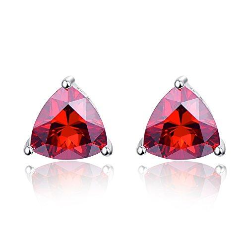 - BONLAVIE 925 Sterling Silver Triangle Shaped Created Red Garnet Gemstone Birthstone Stud Earrings for Women