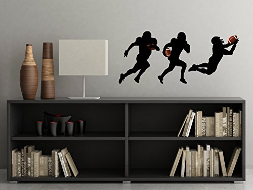 Football Silhouette Fabric Wall Decals - Set of 3 Football Players Wall Stickers - Size Small - Non-Toxic, Reusable, Repositionable