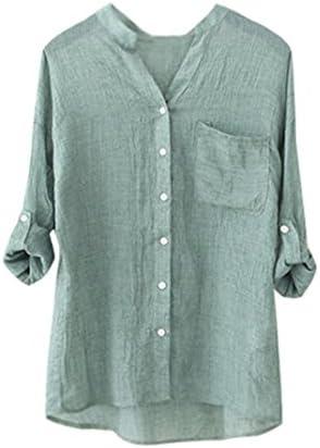 yang-yi Remoción Mujer Algodón Solid manga larga camisa casual Loose Blusa botón Down Tops