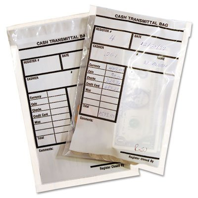 Cash Transmittal Bags, Self-Sealing, 6 x 9, Clear, 500 Bags/Box, Sold as 2 Box, 500 Each per Box