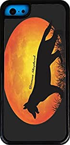 Rikki KnightTM German Sheperd Dog Silhouette By Moon White Tough-It Case Cover for iPhone 5 & 5s(Double Layer case with Silicone Protection and thick front bumper protection)