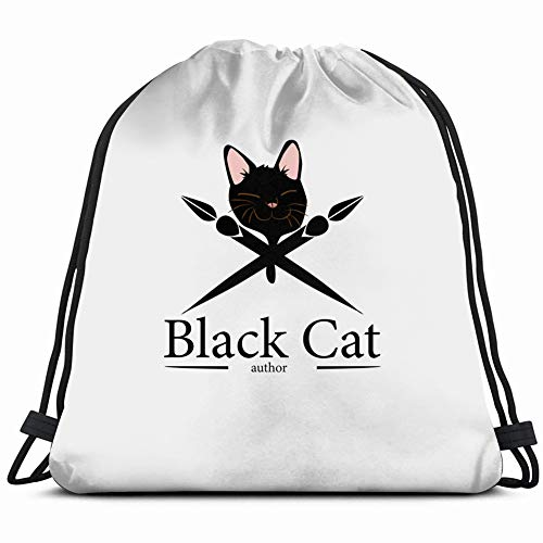 black cat author company organization animals wildlife abstract signs symbols Drawstring Backpack Gym Spacious Pull String Backpack Multifunctional storage bag 14.2 x 16.9 inch