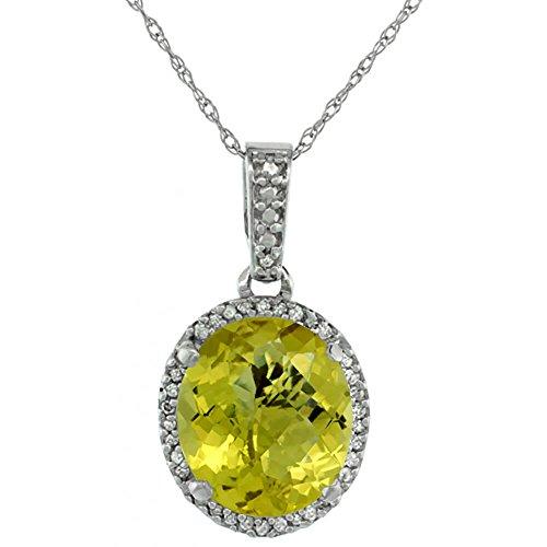 Or blanc 9carats Pendentif Quartz Citron Naturel ovale 11x 9mm et Accents de diamant