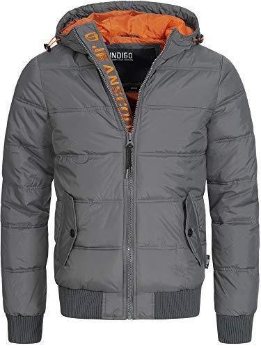 Indicode Herren Adrian ZA Steppjacke in Daunenjacken-Optik mit Kapuze | leichte Winterjacke gefütterte Übergangsjacke (Polyester Wattierung) Regenjacke Jacke für Männer
