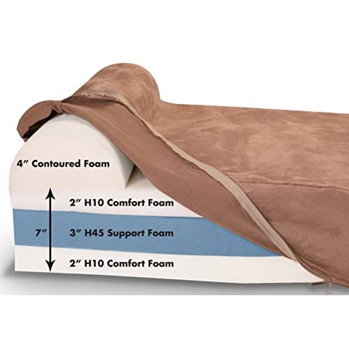 """Extra Large Jumbo Orthopedic Dog Bed Pillowtop with Headrest Deluxe XL 7 Inch Cozy Chocolate 60"""" x 48"""" x 7"""" Weighs 23 Pounds Removable Cover Machine Washable Designed to Prevent or Soothe Joint Pain 50%OFF"""