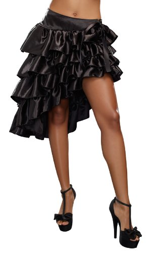 Dreamgirl Women's Ruffled Skirt, Black, Medium -
