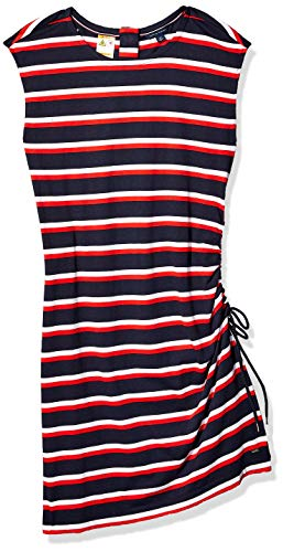 Tommy Hilfiger Women's Adaptive Striped Dress with Magnetic Closure at Neck, Navy/White/Red, Medium (Adaptive Dress)