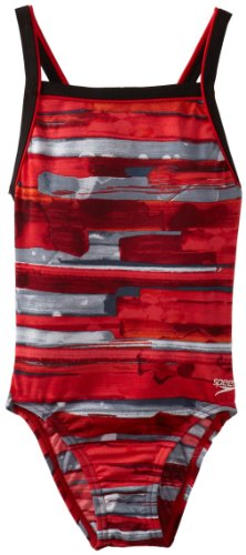Speedo Big Girls'  Youth Color Stroke Flyback Swimsuit, Red, 24/8