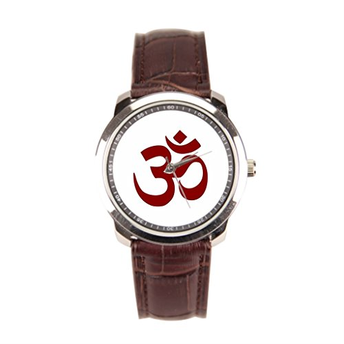 EleganceElegant Om Symbol Indian Hindi Leather Banded Watches Brown Men'sLeatherWatch