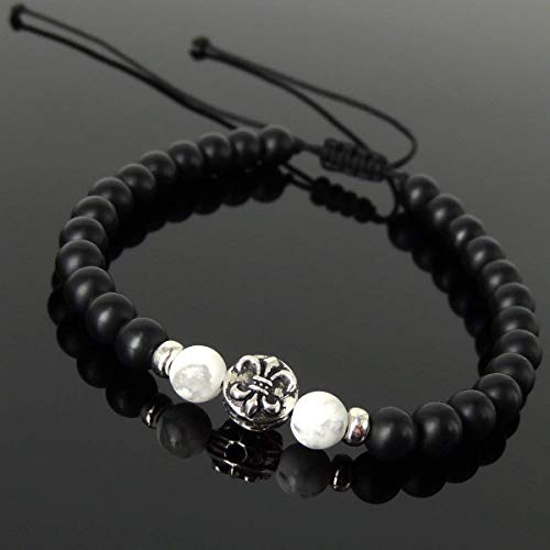 (Men and Women Adjustable Braided Drawstring Bracelet Handmade with 6mm Matte Black Onyx, White Howlite and Genuine 925 Sterling Silver Fleur de Lis Bead )
