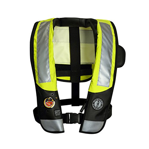 (Mustang Survival Corp Inflatable PFD with HIT (Auto Hydrostatic) with Back Flap and ANSI Reflective Tape, Fluorescent Yellow Green)