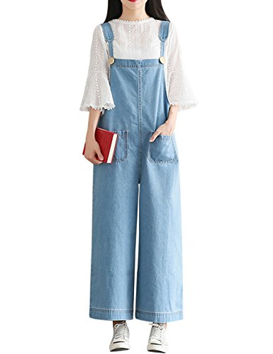 (Yeokou Women's Loose Baggy Wide Leg Cropped Denim Jumpsuit Rompers Overalls)