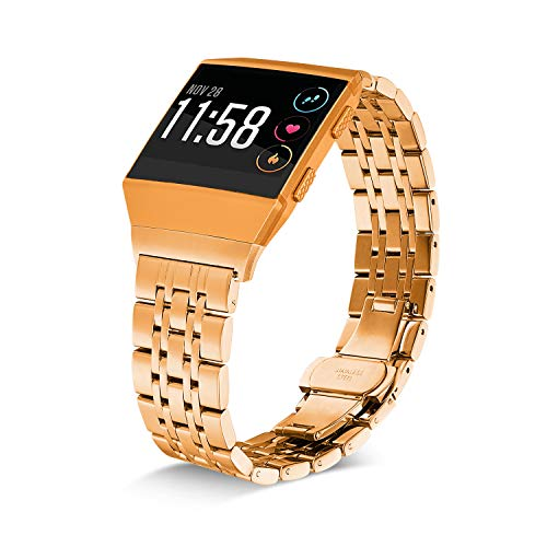 Shangpule Compatible for Fitbit Ionic Bands, Stainless Steel Metal Replacement Strap Bracelet Wrist Band Accessories for Ionic Smart Watch Women Man Large Small (Gold)