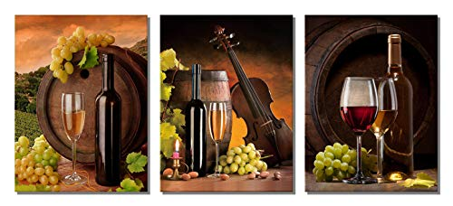 XOTOArt - Grapes Wine Canvas Wall Art Abstract Wine Cup and Bottle Modern Decorative Painting Artwork Still Life Pictures Decorations for Dining Room Kitchen Home Decor(12