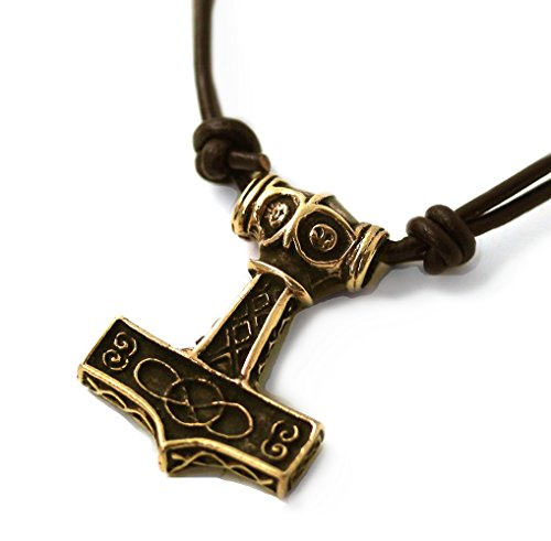 Bronze Celtic Knot Engraved Axe head Thors Hammer Mjolnir Norse Pendant Necklace Thailand Jewelry (Necklace)