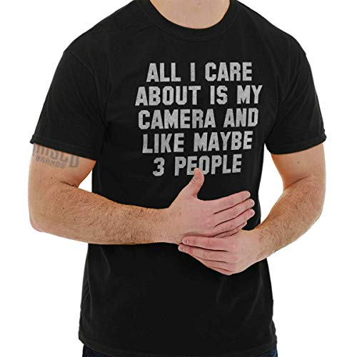 Brisco Brands Care About Camera Photographer Hobby Photo T Shirt Tee Black