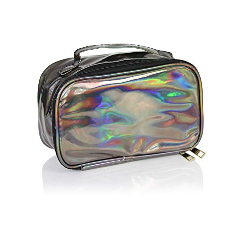 - Cute Holographic Cosmetic Bag for Makeup Toiletry Travel- Large Portable Pencil Pouch Dopp Kit- Case Handbag Organizer w/Divider Slots for Makeup Brushes (Holographic Chrome Charcoal Grey)