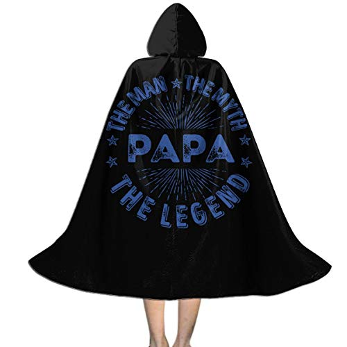 Kids Hooded Cape Cloak The Man The Myth The Legend PAPA Cloak for Children for Halloween Black