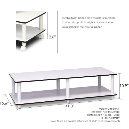 Furinno 11175WH(EX)/WH Just No Tools Wide TV Stand, White w/White Tube