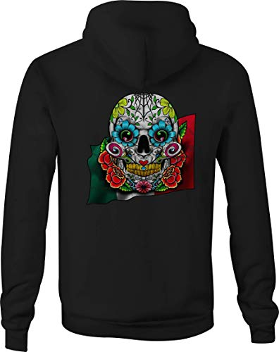 Zip Up Hoodie Mexican Sugar Skull Hooded Sweatshirt for Men - 3XL Black