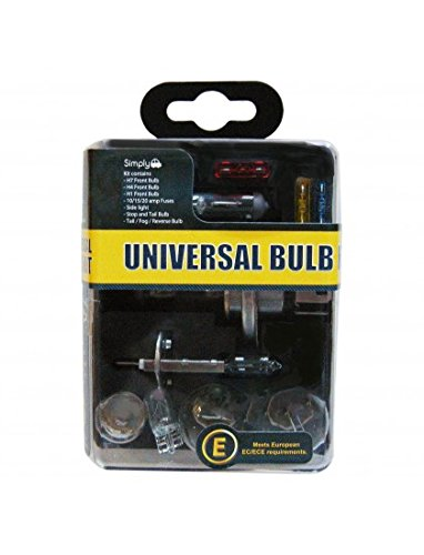 Simply UKB1 Universal Headlight Bulb Kit, Includes 7 Multiple Standard Car Bulbs,H1,H4,H7 and Others Main Types, Convenient Carry Case for Easy Storage JRP Distribution