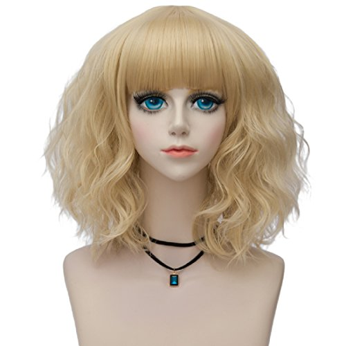 Probeauty Lolita 40CM Short Curly Fashion Women Mixed Brown Anime Cosplay Wig + Wig Cap (Blonde (Blonde Lolita Adult Wig)