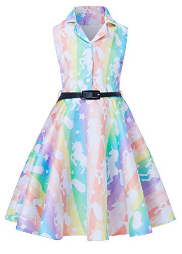 RAISEVERN Girls Vintage Party Dress Novelty Spring Long Swing Wedding Mermaid Print Dress for Little Girl 8-9 Years (Best Gifts For Eight Year Olds)
