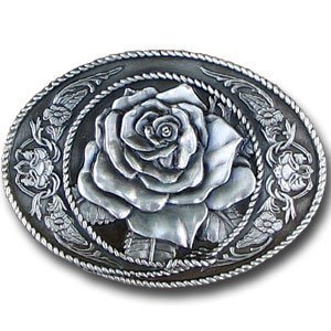 Belt Buckle - Western Rose - Belt Buckle