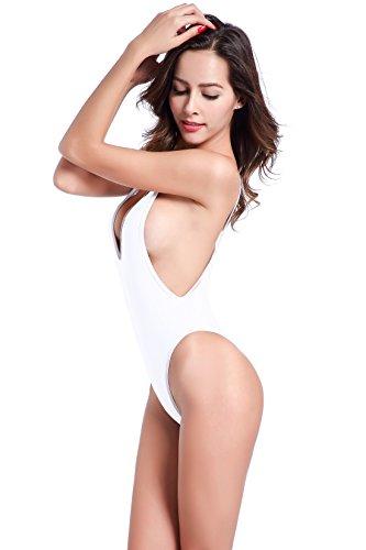 Image of SHEKINI Women's High Cut One Piece Backless Thong Brazilian Bikini